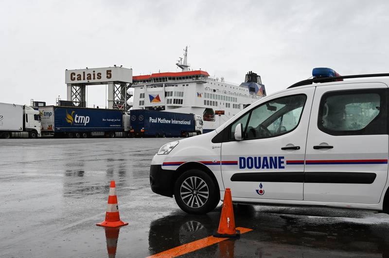 epa07866573 A custom vehicle is parked during a day of test in case of Brexit at the terminal Ferry in Calais, northern France, 24 September 2019. French customs officials carried out their third dress rehearsal for a no-deal Brexit in as many weeks, submitting trucks in Calais to border checks, which exporters fear could act as a brake on cross Channel trade.  EPA/DENIS CHARLET / POOL  MAXPPP OUT