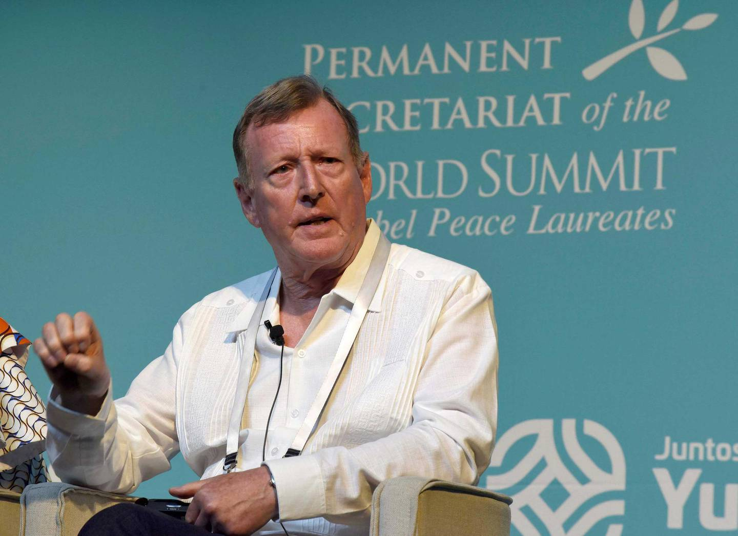 Mandatory Credit: Photo by CUAUHTEMOC MORENO/EPA-EFE/Shutterstock (10418848c)IrishNobel Peace Prize laureate David Trimble participates in a lecture at the World Summit of Nobel Peace Laureates in Merida, Mexico, 19 September 2019. The summit will be held from 19 September to 22 September 2019.World Summit of Nobel Peace Laureates held in Mexico, Merida - 19 Sep 2019
