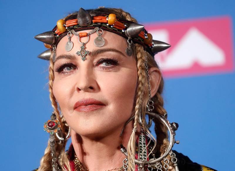 2018 MTV Video Music Awards - Photo Room - Radio City Music Hall, New York, U.S., August 20, 2018. - Madonna poses backstage. REUTERS/Carlo Allegri