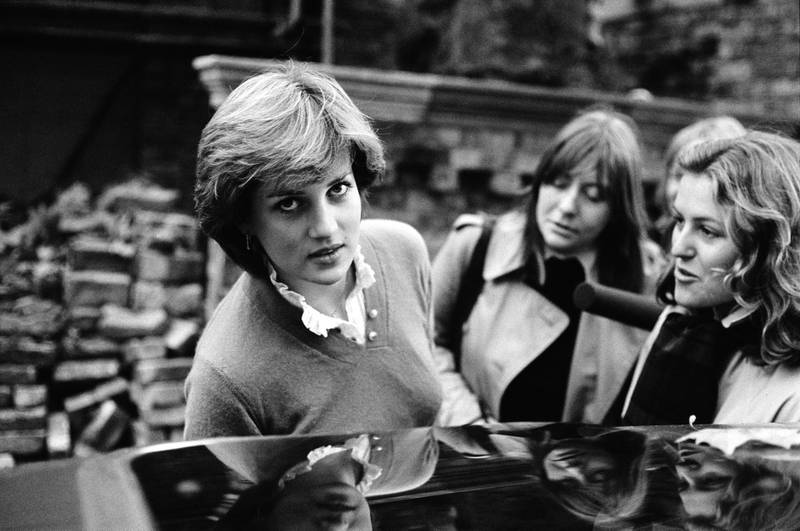 Nineteen year-old Lady Diana Spencer (1961 - 1997, later Diana, Princess of Wales), interviewed by the press while getting into a car, London, UK, 12th November 1980. (Photo by John Minihan/Evening Standard/Hulton Archive/Getty Images)