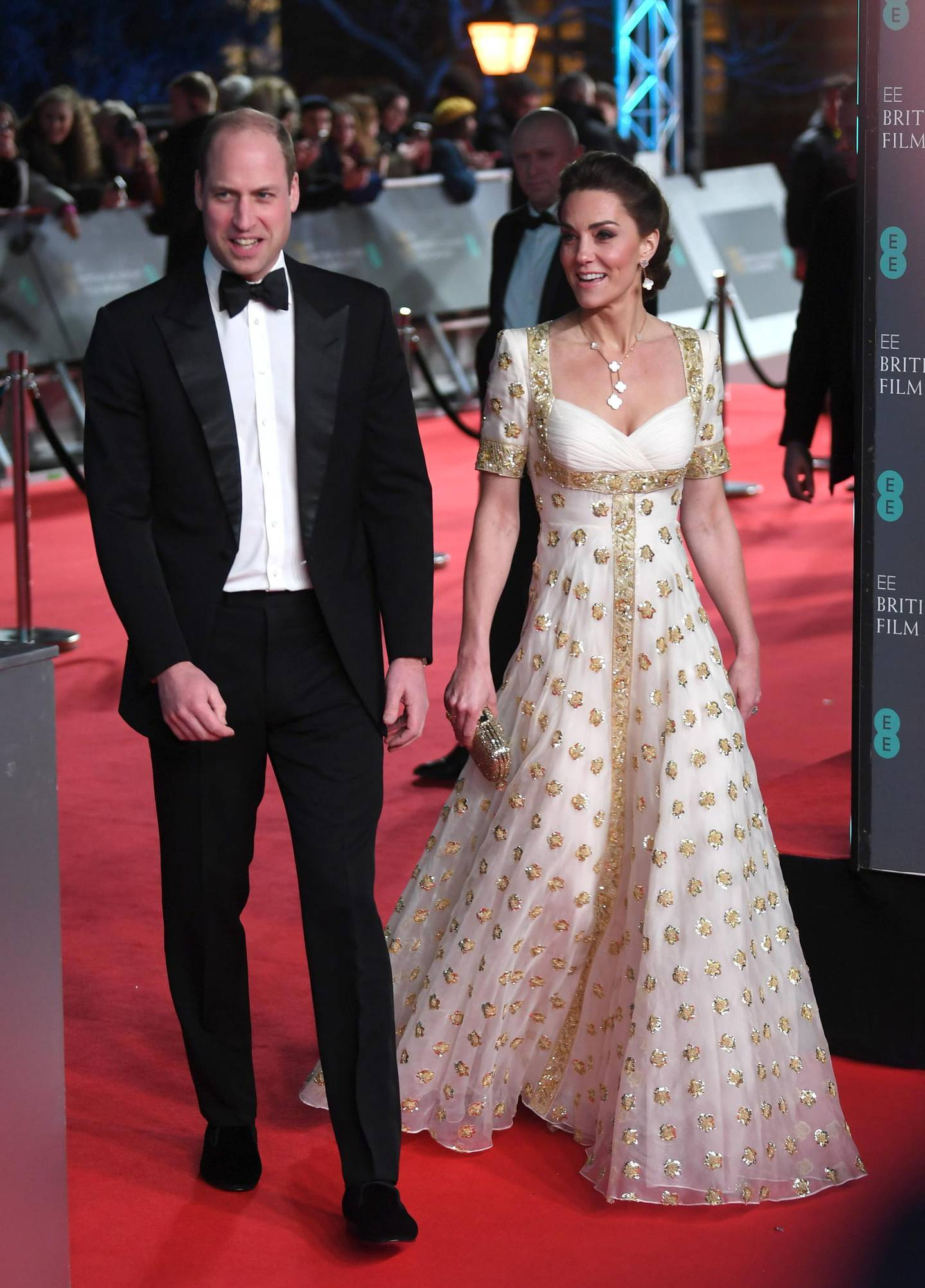 epa08188808 (L-R) Britain's William and Catherine, Duke and Duchess of Cambridge attend the 73rd annual British Academy Film Award at the Royal Albert Hall in London, Britain, 02 February 2020. The ceremony is hosted by the British Academy of Film and Television Arts (BAFTA).  EPA/NEIL HALL *** Local Caption *** 54975994