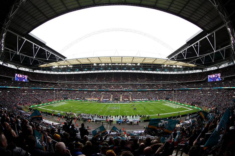 LONDON, ENGLAND - NOVEMBER 03: General view inside the stadium as the Jacksonville Jaguars kick off during the NFL match between the Houston Texans andJacksonville Jaguars at Wembley Stadium on November 03, 2019 in London, England. (Photo by Jack Thomas/Getty Images)