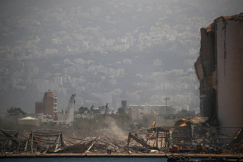 A general view shows damages at the site of Tuesday's blast in Beirut's port area, Lebanon August 8, 2020. REUTERS/Hannah McKay
