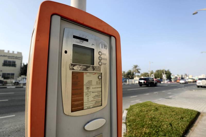 Dubai, United Arab Emirates - February 8th, 2018: General Views of a parking meter. Thursday, February 8th, 2018. Jumeirah Beach Road, Dubai. Chris Whiteoak / The National