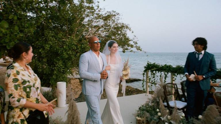 An image that illustrates this article Vin Diesel walks Paul Walker's daughter Meadow down the aisle