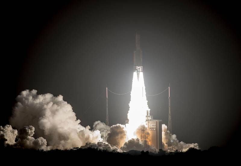 epa06475813 A handout photo made available by the European Space Agency (ESA) and French Centre National d'Etudes Spatiales (CNES) on 26 January 2018 shows an Ariane-5 rocket, carrying the 'SES-14 and 'Al Yah 3' television and communication satellites and the NASA 'Gold' probe, taking off from its launch pad in Kourou, French Guiana, 25 January 2018. Media reports state that there has been technical problems shortly after the launch when the ground control lost contact with the rocket's upper stage. An 'Arianespace' operator spokesperson confirmed the contact-loss but was cited as saying that all missions were going on after the payload satellites had been detected in their orbit positions.  EPA/P. PIRON / HANDOUT  HANDOUT EDITORIAL USE ONLY/NO SALES