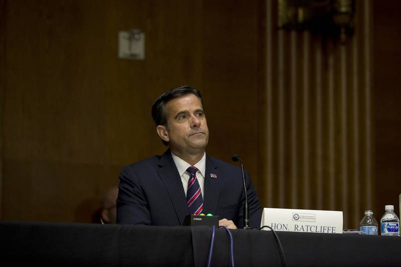 WASHINGTON, DC - MAY 05: Nominee John L. Ratcliffe sits during a Senate Intelligence Committee nomination hearing at the Dirksen Senate Office building on Capitol Hill on Capitol Hill on May 5, 2020 in Washington, DC. The panel is considering Ratcliffe's nomination for Director of National Intelligence.   Gabriella Demczuk -Pool/Getty Images/AFP