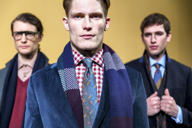 LONDON, ENGLAND - JANUARY 09:  Modern British shirtmaker, Thomas Pink, showcases its Autumn Winter 2016 collection, inspired by the British coast and countryside at the ICA on 9 January 2016 in London, England.  (Photo by Tristan Fewings/Getty Images for Thomas Pink)