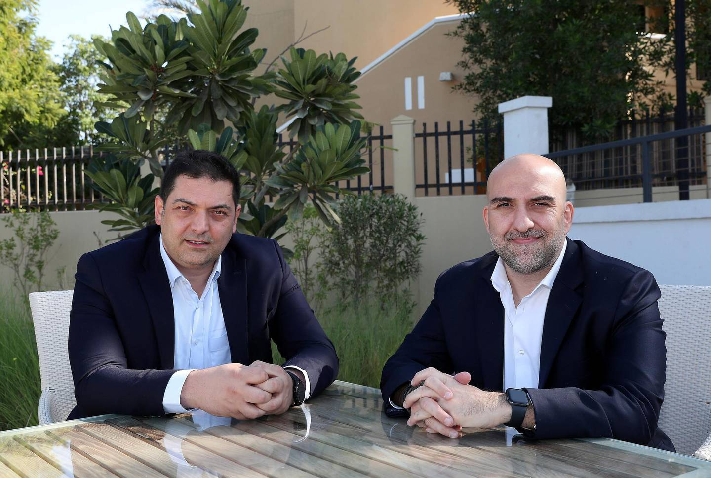DUBAI, UNITED ARAB EMIRATES , December 17 – 2020 :- Left to Right-  Wassim Merheby and Jamil Zablah co-founders of Verofax at the in5 hub in Dubai knowledge village in Dubai. ( Pawan Singh / The National ) For Business. Story by Alkesh