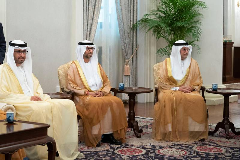 SINGAPORE, SINGAPORE - February 28, 2019: (L-R) HE Dr Sultan Ahmed Al Jaber, UAE Minister of State, Chairman of Masdar and CEO of ADNOC Group, HE Suhail bin Mohamed Faraj Faris Al Mazrouei, UAE Minister of Energy, and HE Dr Anwar bin Mohamed Gargash, UAE Minister of State for Foreign Affairs, attend a meeting HE Halimah Yacob, President of Singapore (not shown), during a reception at the Istana presidential palace. ( Ryan Carter / Ministry of Presidential Affairs )