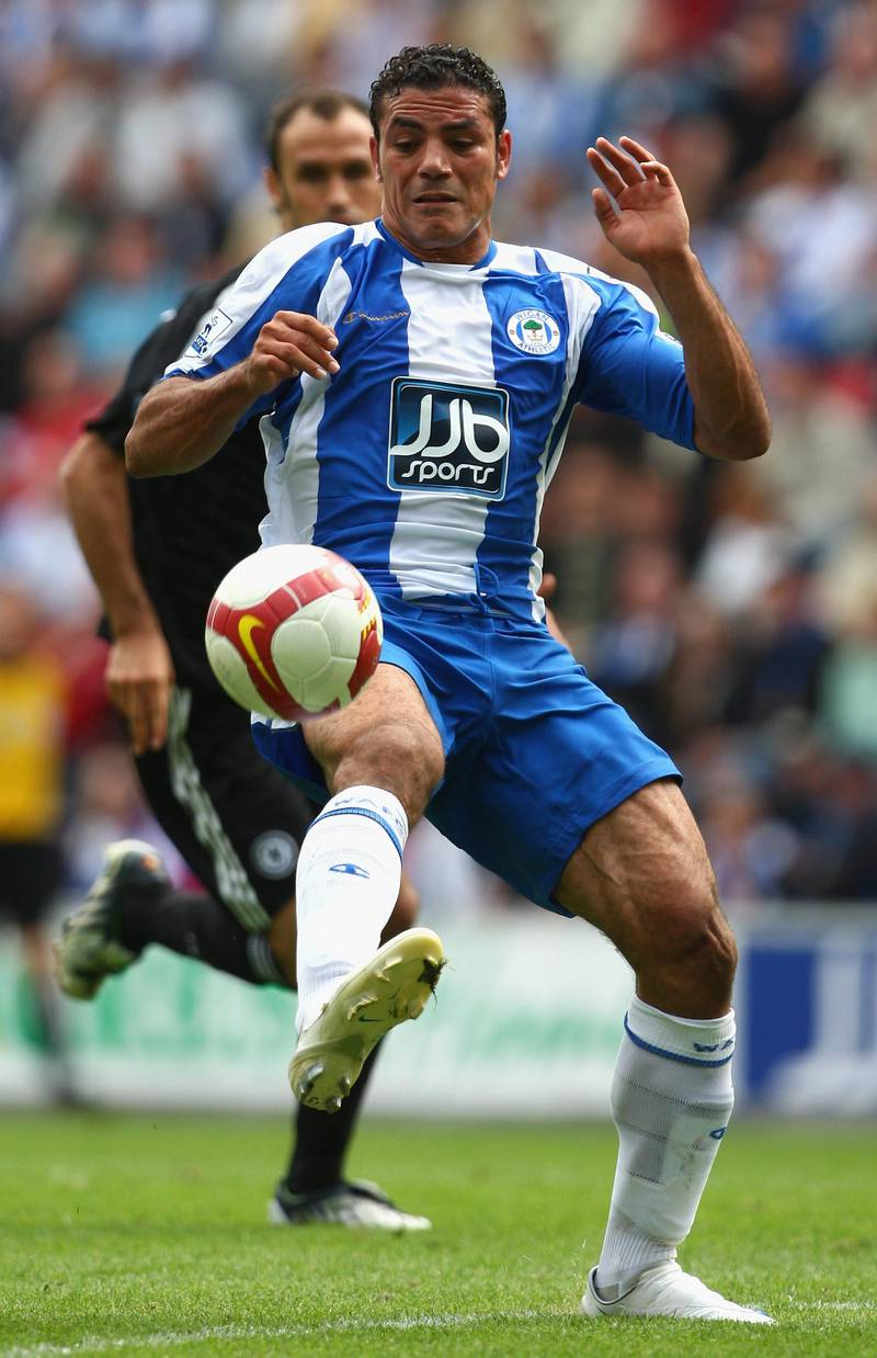 WIGAN, UNITED KINGDOM - AUGUST 24:  Amir Zaki of Wigan Athletic in action during the Barclays Premier League match between Wigan Athletic and Chelsea at The JJB Stadium on August 24, 2008 in Wigan, England.  (Photo by Laurence Griffiths/Getty Images)