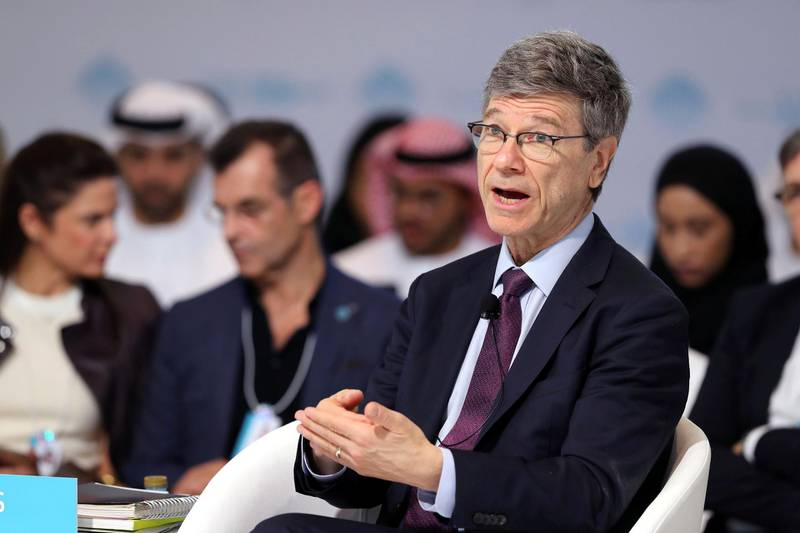 Dubai, United Arab Emirates - February 10, 2019: Jeffrey Sachs, Director, Sustainable Development Solutions Network speaks about Launching the Global Happiness and Wellbeing Policy Report during day 1 at the World Government Summit. Sunday the 10th of February 2019 at Madinat, Dubai. Chris Whiteoak / The National