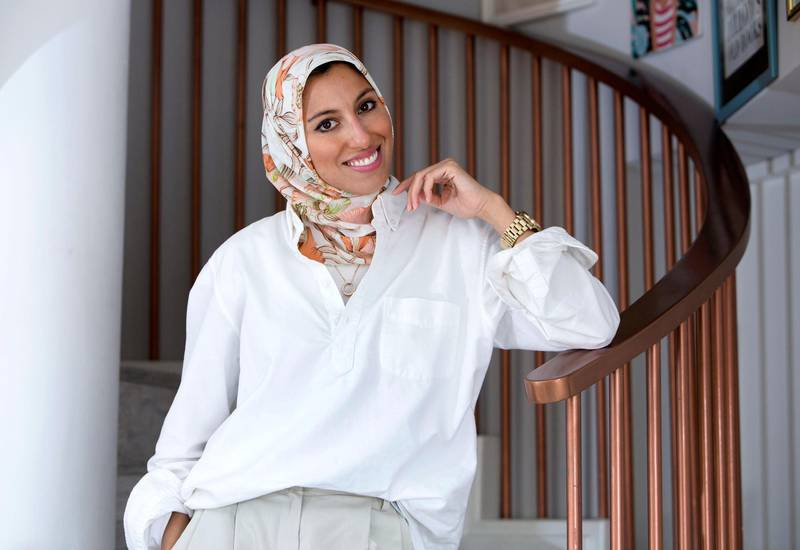 Dubai, United Arab Emirates- Melanie Elturk CEO of Haute Hijab, her brand is based in the United States but she produces her scarves locally in Ajman. Ruel Pableo for the National for Hafsa Lodi's story