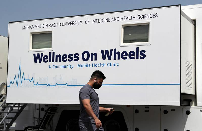 DUBAI, UNITED ARAB EMIRATES , March 11, 2021 – View of the  MBRU a community mobile health clinic near the Al Waha Community on Nad Al Hamar Road in Dubai. (Pawan Singh / The National) For News/Online/Instagram. Story by Nick Webster
