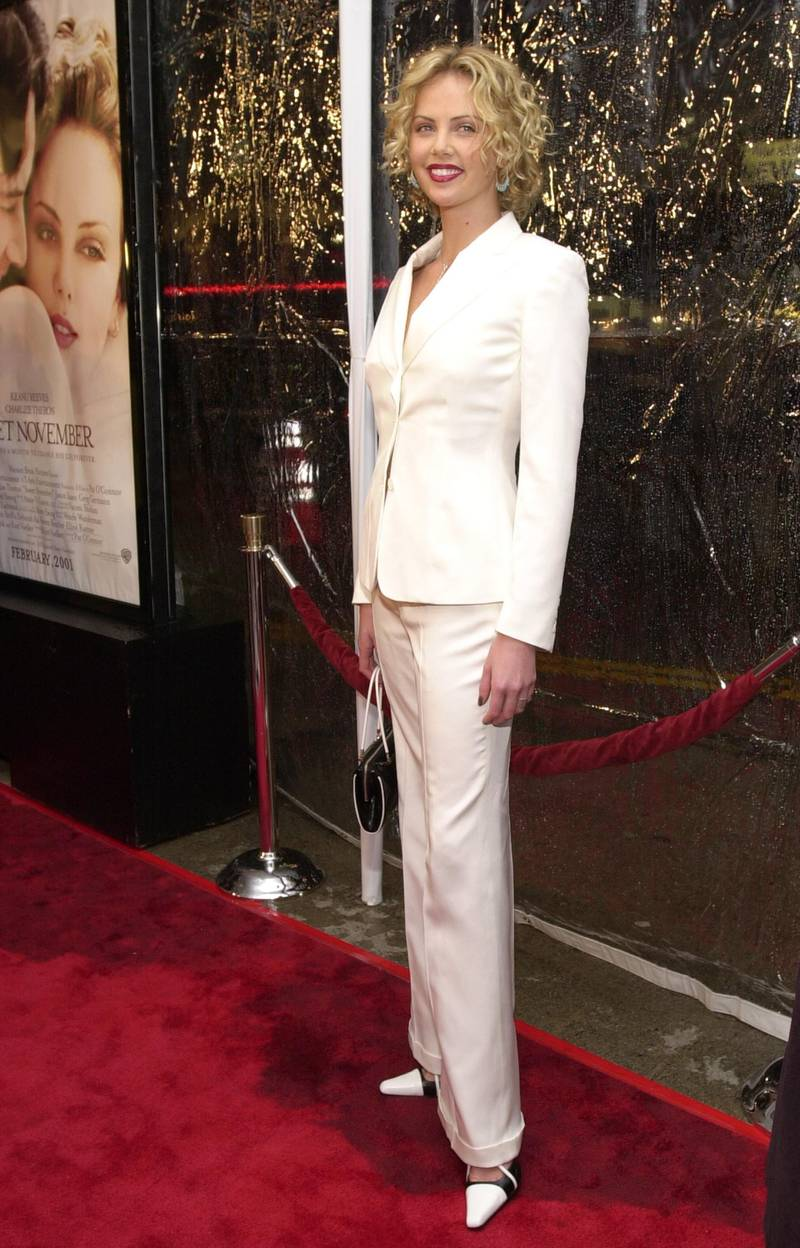 """385455 O5: Actress Charlize Theron arrives at the premiere of Warner Bros.'' """"Sweet November"""" February 12, 2001 in Westwood, CA. (Photo by Chris Weeks/Liaison)"""
