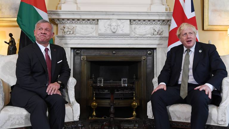 An image that illustrates this article King Abdullah of Jordan stresses importance of global efforts tackling unrest to UK PM