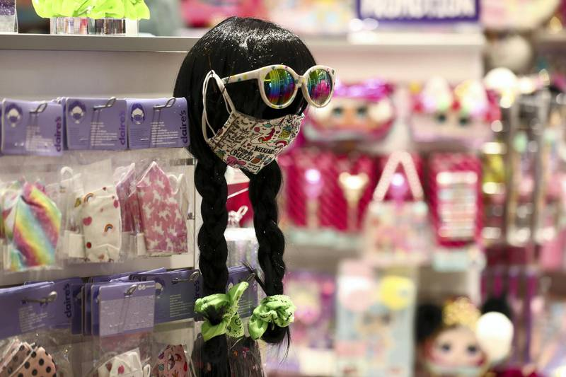 Dubai, United Arab Emirates - Reporter: Kelly Clarke. Coronavirus/Covid-19. Masks on sale at Claire's Accessories. Parents rush to buy PPE for children in time for back-to-school. Sunday, August 23rd, 2020. Dubai. Chris Whiteoak / The National