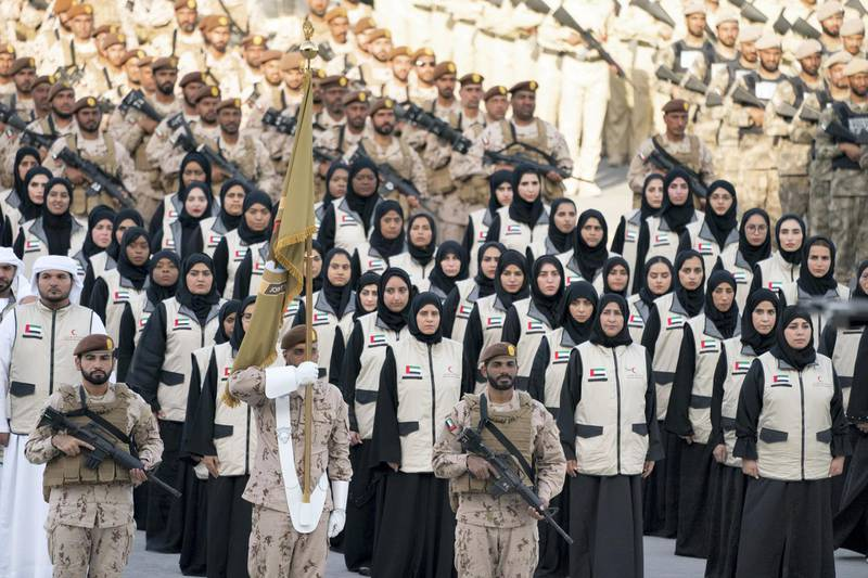 SWEIHAN, ABU DHABI, UNITED ARAB EMIRATES - February 09, 2020: Members of the UAE Red Crescent participate in a reception to celebrate and honor members of the UAE Armed Forces who served in the Arab coalition in Yemen, at Zayed Military City.  ( Mohamed Al Hammadi / Ministry of Presidential Affairs ) ---