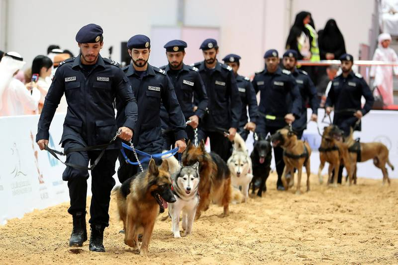 ABU DHABI ,  UNITED ARAB EMIRATES , AUGUST 27 – 2019 :- Members of the K9 of Abu Dhabi Police during the ADIHEX 2019 held at ADNEC in Abu Dhabi. ( Pawan Singh / The National ) For News/Online/Instagram/Big Picture. Story by Daniel