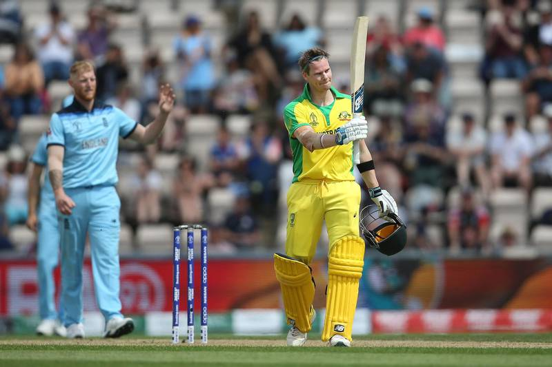SOUTHAMPTON, ENGLAND - MAY 25: Steve Smith of Australia acknowledges the crowd after reaching his century during the ICC Cricket World Cup 2019 Warm Up match between England and Australia at the Ageas Bowl on May 25, 2019 in Southampton, England.  (Photo by Steve Bardens/Getty Images)