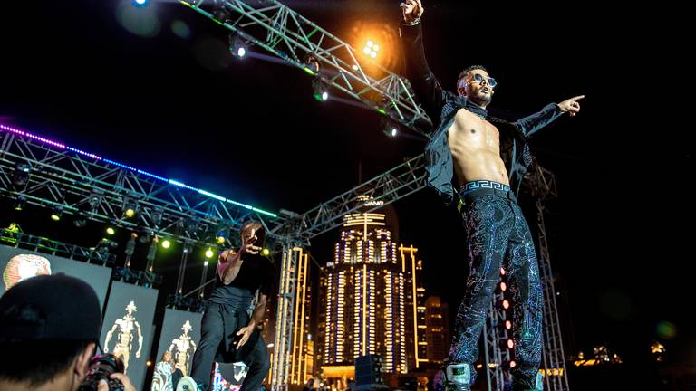 An image that illustrates this article Mohamed Ramadan, MC Smiley and Sammy Young perform at All Africa Festival