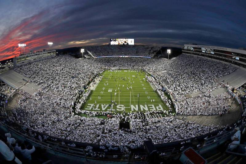 Mandatory Credit: Photo by Gene J Puskar/AP/Shutterstock (10450770bd)The sunsets on Beaver Stadium during warm ups before an NCAA college football game between Penn State and Michigan in State College, Pa., . Penn State won 28-21Michigan Penn State Football, State College, USA - 19 Oct 2019