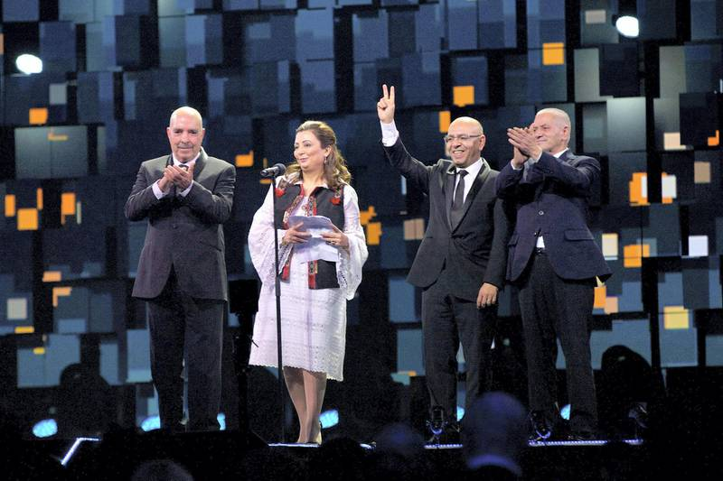 OSLO, NORWAY - DECEMBER 11: Nobel Peace Prize Laureates 2015 Abdessattar Ben Moussa, Wided Bouchamaoui, Mohamed Fadhel Mahfoudh and Houcine Abbassi of the 'Tunisian National Dialogue Quartet' speak during Nobel Peace Prize concert at Telenor Arena on December 11, 2015 in Oslo, Norway.  (Photo by Ragnar Singsaas/Getty Images)