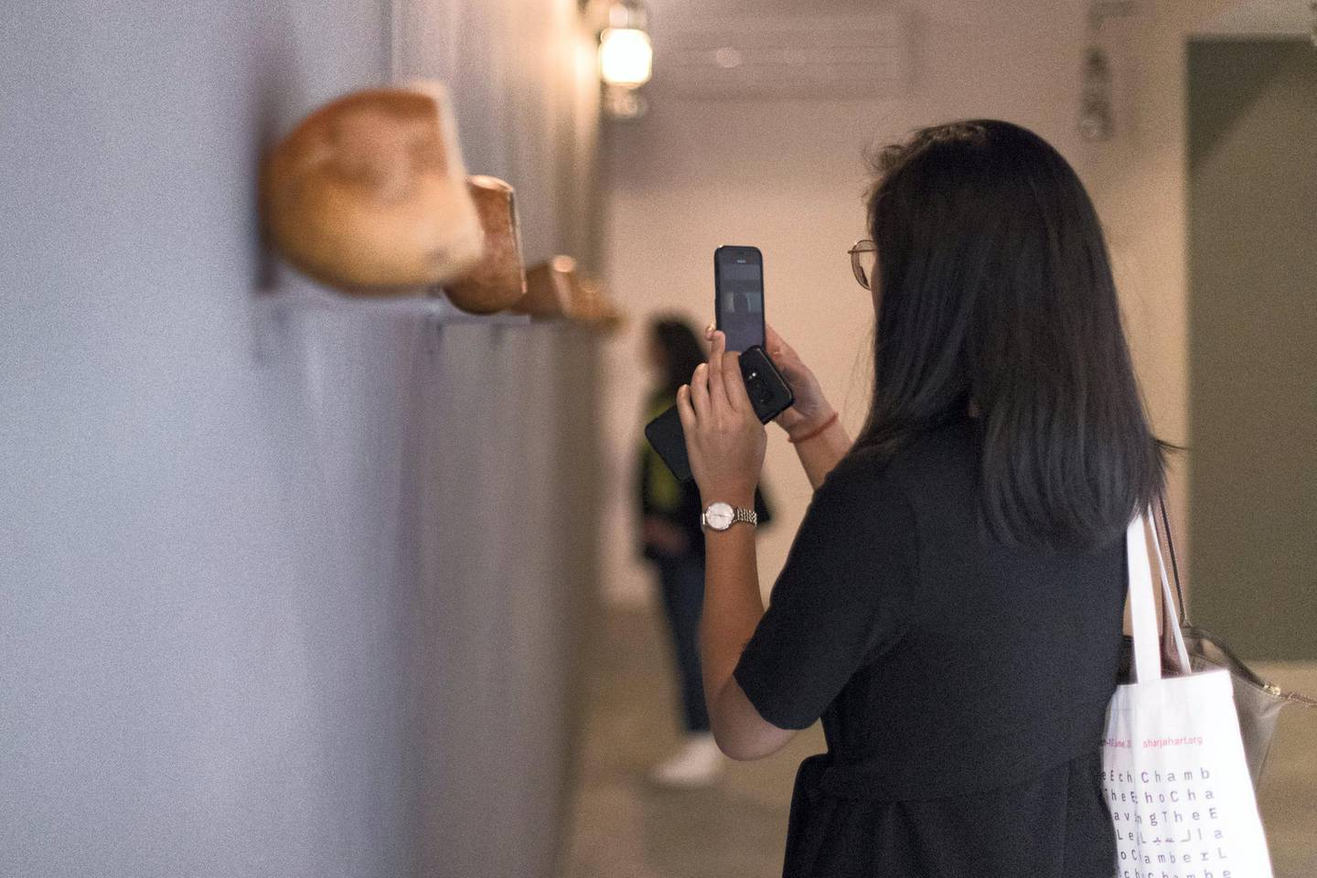 """SHARJAH, UNITED ARAB EMIRATES - March 6 2019.  Artworks showing at Sharjah Biennial 14 under the theme """"Leaving the Echo Chamber"""".  (Photo by Reem Mohammed/The National)  Reporter: MELISSA GRONLUND Section:  AC"""