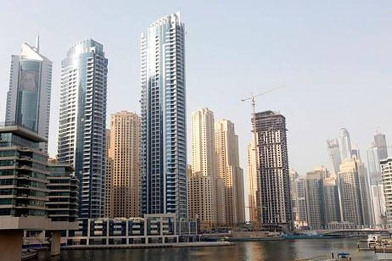 Dubai, United Arab Emirates - September 12, 2012.  The Bay Central towers close to the Marina creek.  ( Jeffrey E Biteng / The National )  Editor's Note; Two identical towers were the Bay Central.