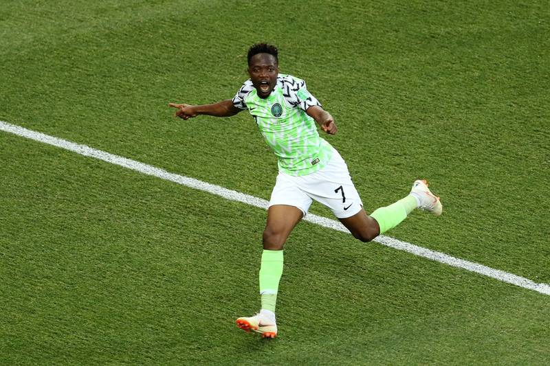 VOLGOGRAD, RUSSIA - JUNE 22:  Ahmed Musa of Nigeria celebrates after scoring his team's first goal during the 2018 FIFA World Cup Russia group D match between Nigeria and Iceland at Volgograd Arena on June 22, 2018 in Volgograd, Russia.  (Photo by Kevin C. Cox/Getty Images) ***BESTPIX***