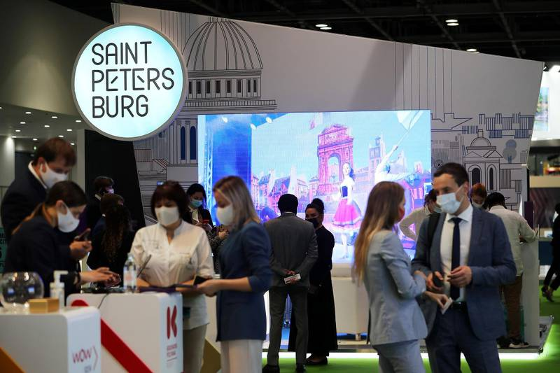 Visitors during the Arabian Travel Market held at Dubai World Trade Centre in Dubai on May 16,2021. Pawan Singh / The National. Story by Deena
