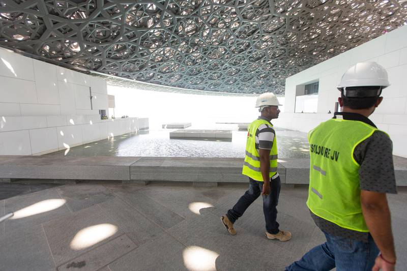 Abu Dhabi, United Arab Emirates, June 22, 2017:     General view of the Louvre Abu Dhabi construction site on Saadiyat Island in Abu Dhabi on June 22, 2017. Christopher Pike / The NationalReporter: James Langston, Nick LeechSection: Louvre *** Local Caption ***  CP0622-Louvre-06.JPG