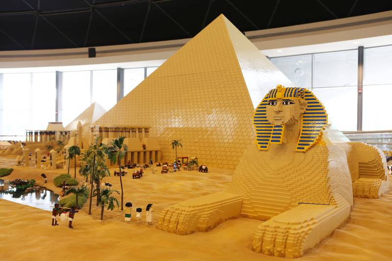 DUBAI , UNITED ARAB EMIRATES – Oct 31 , 2016 : View of the Pyramids at the Miniland made by Lego bricks which feature Dubai skyline , key landmarks from around the Middle East after the opening ceremony of Legoland Dubai in Dubai.  ( Pawan Singh / The National ) For News. Story by Nick Webster. ID No - 33930  *** Local Caption ***  PS3110- LEGOLAND10.jpg