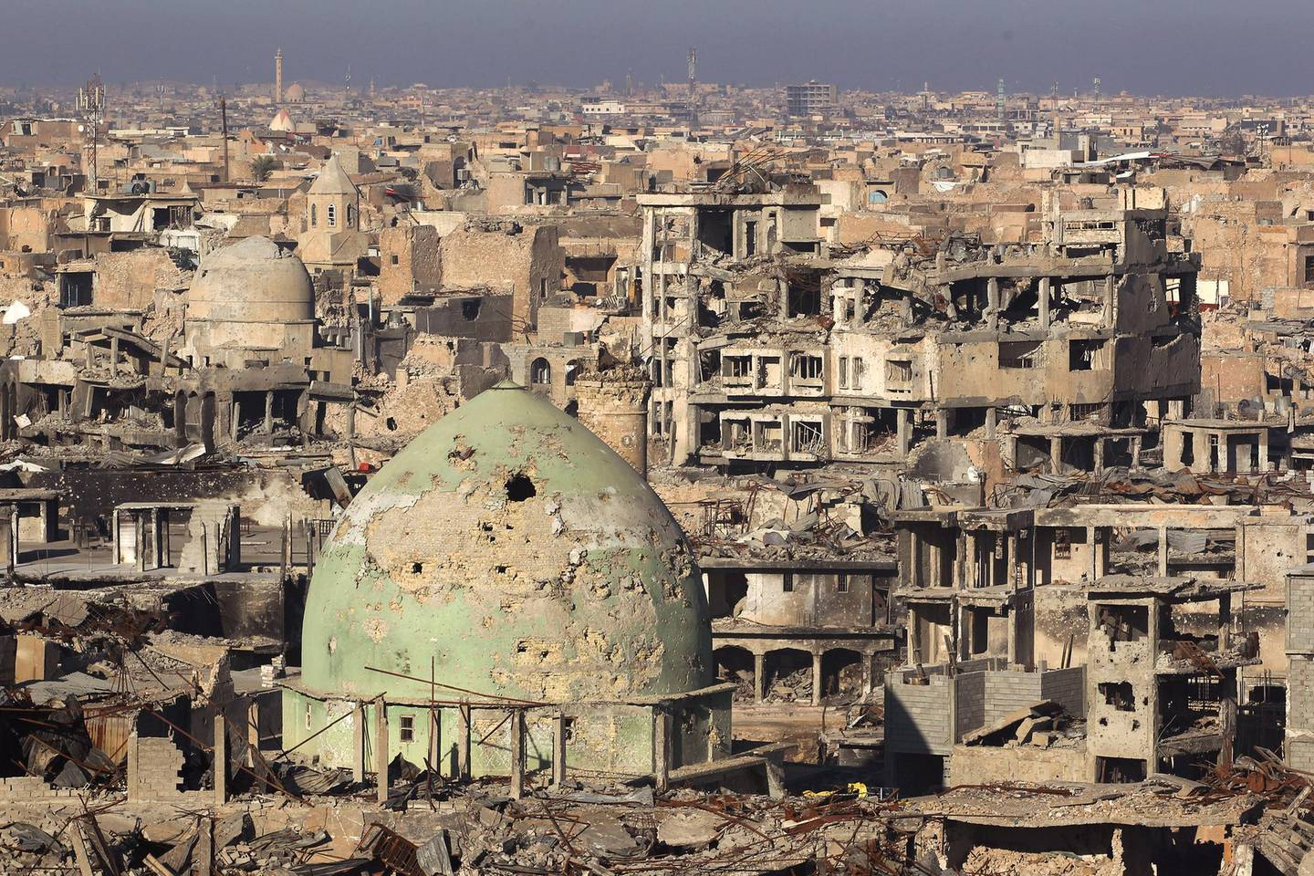 A general view shows Mosul's Old City, on January 8, 2018, six months after Iraqi forces seized the country's second city from Islamic State group jihadists. / AFP PHOTO / AHMAD AL-RUBAYE