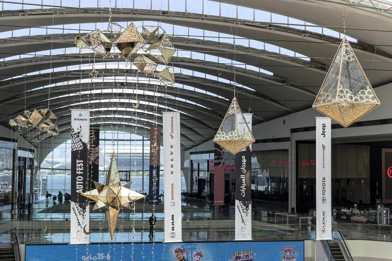 Eid decorations in Festival City Mall with shoppers preparing for Eid on May 10th, 2021. Antonie Robertson / The National.Reporter: Patrick Ryan for National.