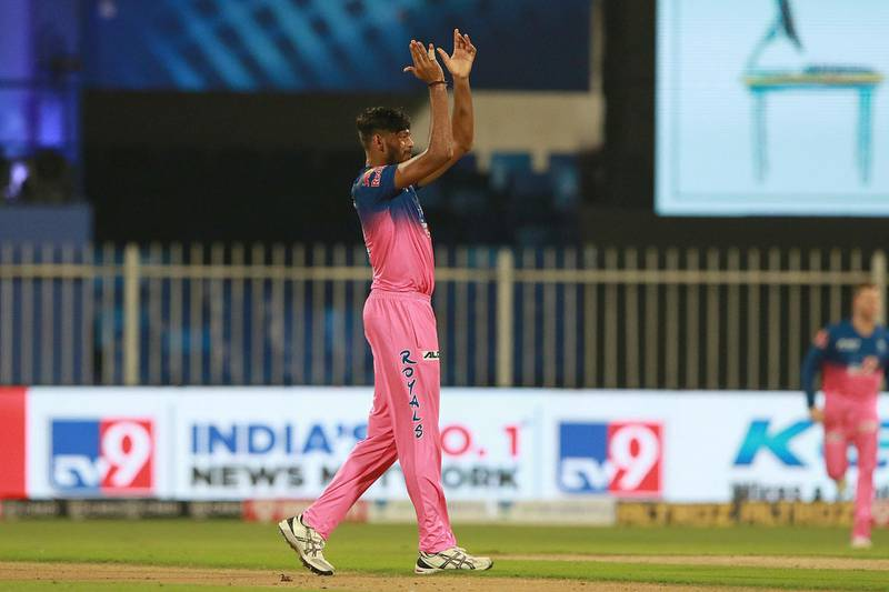 Ankit Singh Rajpoot  of Rajasthan Royals  celebrates after takes a wicket of KL Rahul captain of Kings XI Punjab during match 9 of season 13 of the Indian Premier League (IPL) between Rajasthan Royals and Kings XI Punjab held at the Sharjah Cricket Stadium, Sharjah in the United Arab Emirates on the 27th September 2020.  Photo by: Rahul Gulati  / Sportzpics for BCCI