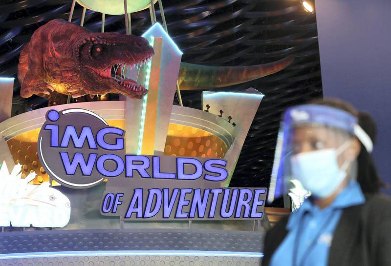 Dubai, United Arab Emirates - Reporter: N/A. Covid-19/Coronavirus. IMG World of Adventure opened on recently to the public with strict Covid-19/Coronavirus safety measures. Tuesday, July 21st, 2020. Dubai. Chris Whiteoak / The National