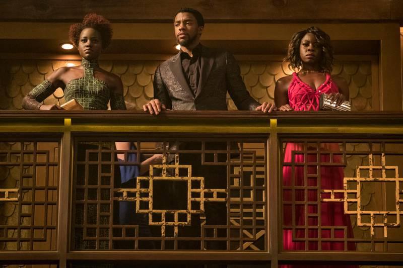 Marvel Studios' BLACK PANTHER..L to R: Marvel Studios' BLACK PANTHER..L to R: Nakia (Lupita Nyong'o), T'Challa/Black Panther (Chadwick Boseman) and Okoye (Danai Gurira). Matt Kennedy / Marvel Studios