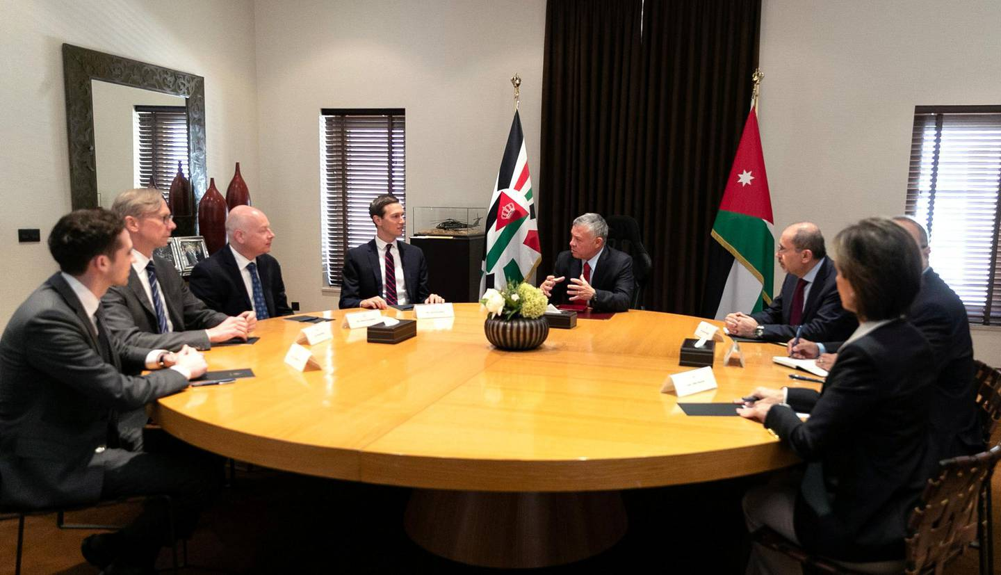 Jordan's King Abdullah meets with Senior White House Advisor Jared Kushner in Amman, Jordan, May 29, 2019. Yousef Allan/Royal Palace/Handout via Reuters ATTENTION EDITORS - THIS PICTURE WAS PROVIDED BY A THIRD PARTY. REUTERS IS UNABLE TO INDEPENDENTLY VERIFY THE AUTHENTICITY, CONTENT, LOCATION OR DATE OF THIS IMAGE.