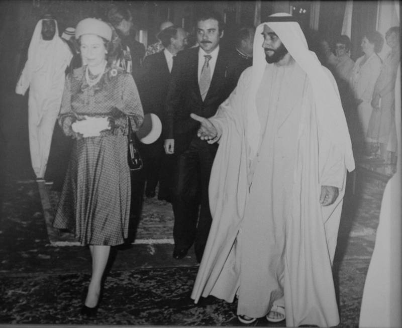 November 23, 2010, Abu Dhabi, UAE:A photograph of a photograph showing Queen Elizabeth with Sheikh Zayed during her visit to the UAE in 1979. The photo is courtesy of Zaki Anwar Nusseibeh, the Vice Chairman for the Abu Dhabi Authority for Cultural Affairs and the Advisor Ministry of Presidential Affairs.