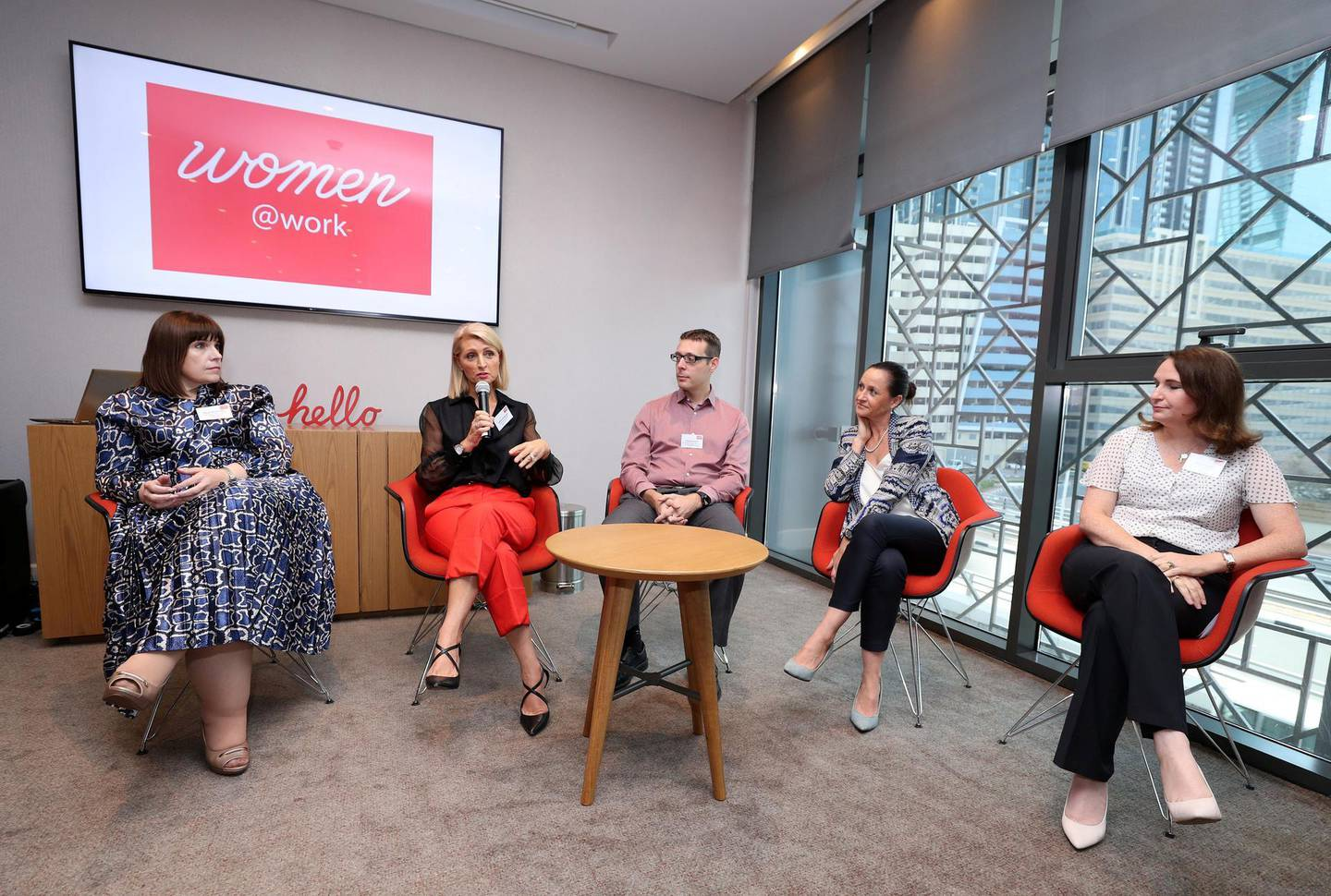 Dubai, United Arab Emirates - November 25, 2019: L-R Despo Michaelides, AXA Insurance, Debbie Kristansen, Novo Cinemas, Charles Haworth, Commercial director/ D&I leader GE renewable energy, Rachael Ellyard, Talent Leader MENA EY and Rebecca Jeffs, Serco Middle East. Panel discussion on women and the challenges they face at work. Monday, November 25th, 2017 at Rove Hotel, Abu Dhabi. Chris Whiteoak / The National