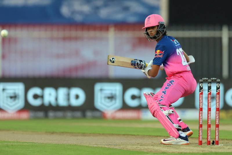 Yashasvi Jaiswal of Rajasthan Royals bats during match 4 of season 13 of the Dream 11 Indian Premier League (IPL) between Rajasthan Royals and Chennai Super Kings held at the Sharjah Cricket Stadium, Sharjah in the United Arab Emirates on the 22nd September 2020. Photo by: Deepak Malik  / Sportzpics for BCCI