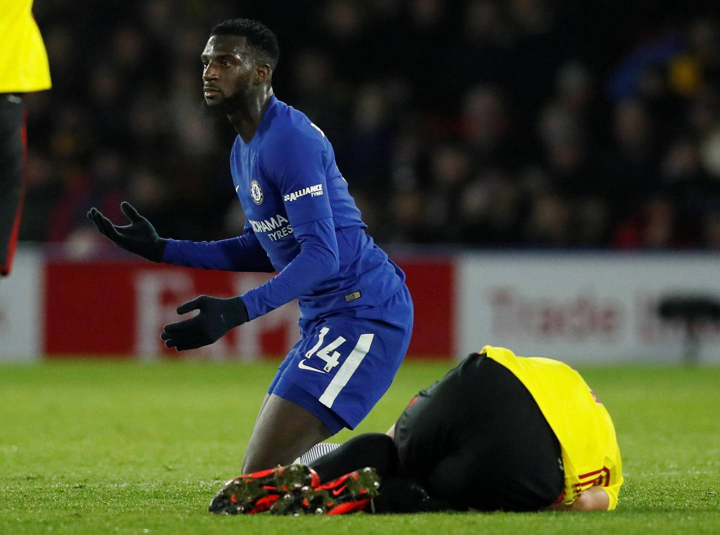 """Soccer Football - Premier League - Watford vs Chelsea - Vicarage Road, Watford, Britain - February 5, 2018   Chelsea's Tiemoue Bakayoko reacts before being sent off for a foul on Watford's Richarlison                REUTERS/David Klein    EDITORIAL USE ONLY. No use with unauthorized audio, video, data, fixture lists, club/league logos or """"live"""" services. Online in-match use limited to 75 images, no video emulation. No use in betting, games or single club/league/player publications.  Please contact your account representative for further details."""