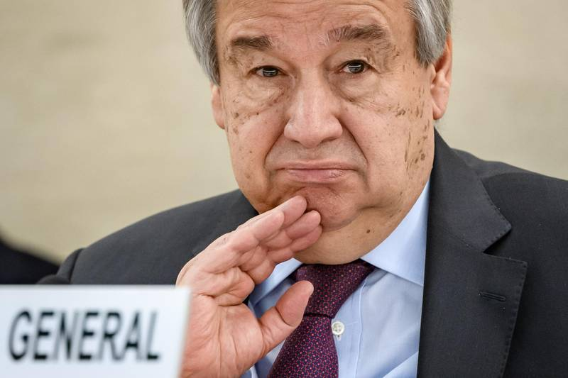 """(FILES) In this file photo taken on February 24, 2020 UN Secretary-General Antonio Guterres looks on at the opening of the UN Human Rights Council's main annual session in Geneva. The coronavirus pandemic is the worst global crisis since World War II, UN Secretary-General Antonio Guterres said March 31, 2020, expressing concern that it could trigger conflicts around the world. Guterres said that the scale of the crisis was due to """"a disease that represents a threat to everybody in the world and... an economic impact that will bring a recession that probably has no parallel in the recent past.""""  """"The combination of the two facts and the risk that it contributes to enhanced instability, enhanced unrest, and enhanced conflict are things that make us believe that this is the most challenging crisis we have faced since the Second World War,"""" he told reporters. The New York-based United Nations was founded at the end of the war in 1945 and has 193 member states.  / AFP / Fabrice COFFRINI"""