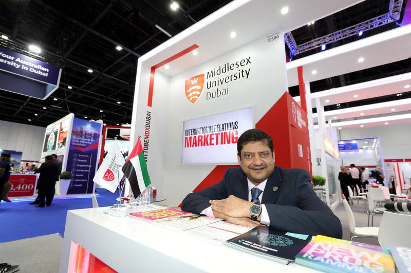 Dubai, United Arab Emirates - April 17, 2019: Dr Cedwyn Fernandes, pro-vice chancellor Director at Middlesex University Dubai during day one of GETEX. Wednesday the 17th of April 2019. World Trade Centre, Dubai. Chris Whiteoak / The National