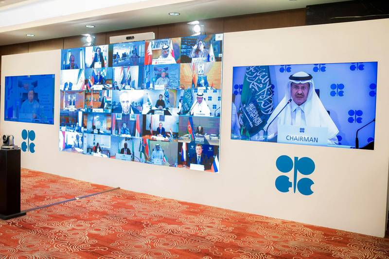 Saudi Arabia's Minister of Energy Prince Abdulaziz bin Salman Al-Saud speaks via video link during a virtual emergency meeting of OPEC and non-OPEC countries, following the outbreak of the coronavirus disease (COVID-19), in Riyadh, Saudi Arabia April 9, 2020. Picture taken April 9, 2020. Saudi Press Agency/Handout via REUTERS ATTENTION EDITORS - THIS PICTURE WAS PROVIDED BY A THIRD PARTY.