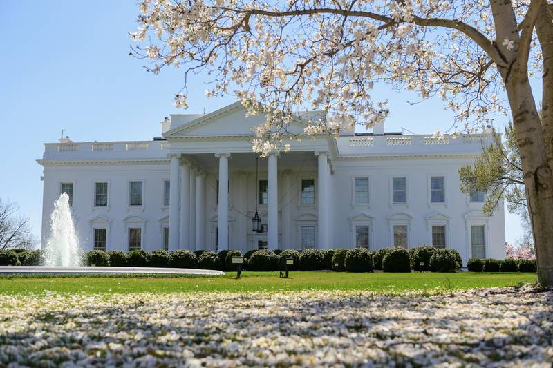 The White House in Washington, D.C., U.S., on Friday, March 26, 2021. President Biden says efforts to restrict voting in several states must end and calls a new law in Georgia an un-American move to deny people their right to cast ballots. Photographer: Erin Scott/Bloomberg