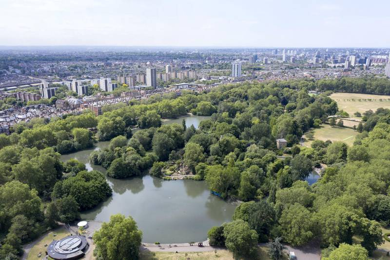 BATTERSEA,LONDON - JUNE 9:  (EDITORS NOTE: Full Flight Permissions) An aerial view by drone of Battersea Park on June 9,2020 in London. (Photo by Chris Gorman/ Getty Images)