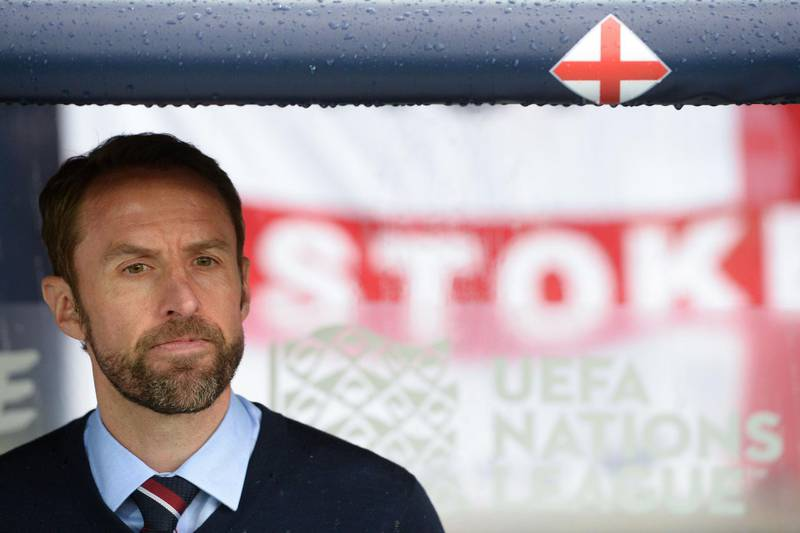 England's coach Gareth Southgate attends the UEFA Nations League semi-final football match between The Netherlands and England at the Afonso Henriques Stadium in Guimaraes on June 6, 2019. / AFP / MIGUEL RIOPA