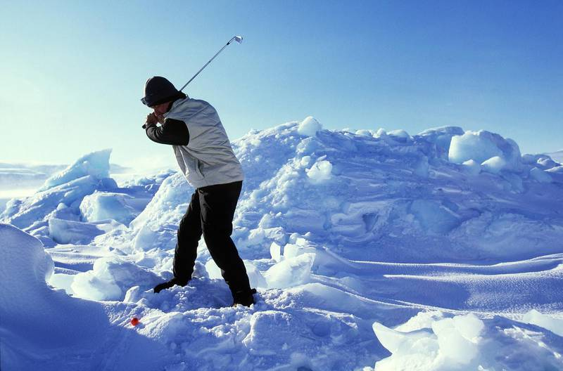 20 Mar 2002:  Chip Thompson of the USA in action during the Drambuie World Ice Golf Championship in Uummannaq, Greenland. \ Mandatory Credit:  Alex Livesey/Getty Images \